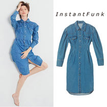 ★INSTANTFUNK★ 韓国 20FW Puff long denim shirts dress