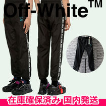 即納品  OFF-WHITE TRACKTOP BLACK NO COLOR ナイロンパンツ