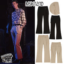 【MSKN2ND】CHAIN FLARE PANTS BEIGE/BLACK