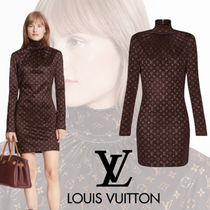 【LOUIS VUITTON】モノグラムプリントロングスリーブドレス