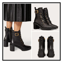 VALENTINO☆ 70MM Calfskin Combat Boots the Rope Black