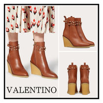 VALENTINO☆ Rockstud Wedge Boots 90MM Calfskin Brown