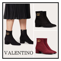 VALENTINO☆ 45MM VLOGO Signature Ankle Boots Red/Black