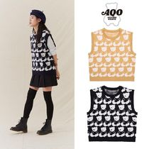 [AQOSTUDIO] AQO BEAR KNIT VEST 2COLOR 韓国ブランド 送料無料
