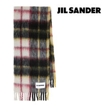 JIL SANDER☆CHECKED MOHAIR AND WOOL-BLEND SCARF / red black