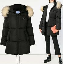 PRADA★三角ロゴ fox fur down jacket black (関税込EMS謝恩品)