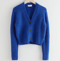 """""""& Other Stories""""Cropped Ribbed Alpaca Blend Cardigan Blue"""