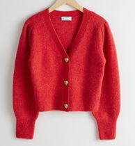 """""""& Other Stories"""" Heart Button Alpaca Blend Cardigan Red"""