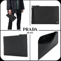 [PRADA] ★ Saffiano Leather Logo clutch bag クラッチバック