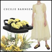 CECILIE BAHNSEN Kat フラワービーズサンダル イエロー