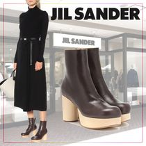 【JIL SANDER】 Leather ankle bootsブラウン