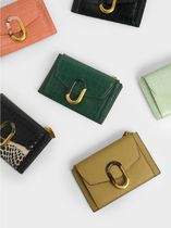Charles&Keith Croc-Effect Stone-Embellished カードケース
