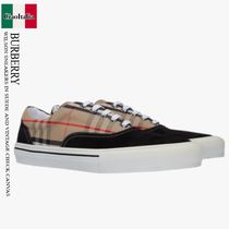 BURBERRY WILSON SNEAKERS IN SUEDE AND VINTAGE CHECK CANVAS
