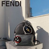 FENDI- Shearling Emoticon Backpack / Faces バックパック