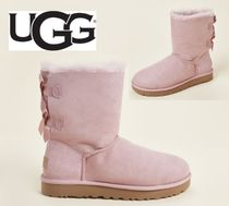 UGG☆Pink Crystal Bailey Bow II Shearling-Lined Boots