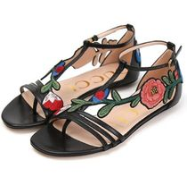 GUCCI★flowerモチーフ leather sandals black【EMS関税込】