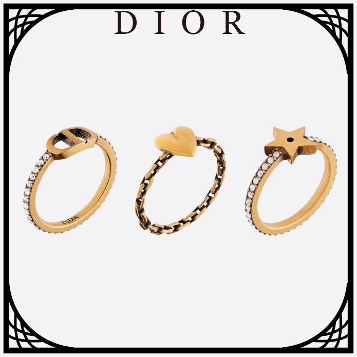 DIOR LUCKY CD リングセット メタル&クリスタル すぐ届く (Dior/指輪・リング) R0986LCDCY_D908