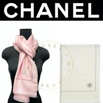 CHANEL ストール CC ロゴ ピンク 白 直営店 新作 ギフト 人気 女