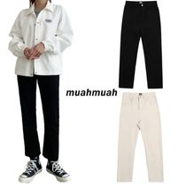 【muahmuah】Cotton Span Straight Pants BLACK/CREAM