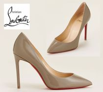CHRISTIAN LOUBOUTIN☆Taupe Pigalle Pointed Toe Patent Pumps