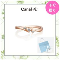 【canal 4℃】ピンキーリング 3石ウェーブデザイン