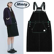 日本未入荷★87MM★ [Mmlg] OVERALL DENIM SKIRT (WASHED BLACK)