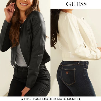 【GUESS】VIPER FAUX-LEATHER MOTO JACKET レザーモトジャケット