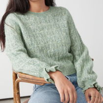 """& Other Stories""Alpaca Blend Ruffled Cable Knit LightGree"