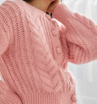 """""""& Other Stories"""" Cropped Button Up Knit Sweater Pink"""