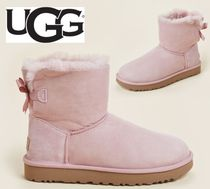 UGG☆Pink Crystal Mini Bailey Bow II Shearling-Lined Boots