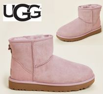 UGG☆Pink Crystal Classic Mini II Shearling-Lined Boots