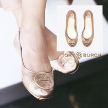 即発★TORY BURCH★MINNIE TRAVEL METALLICバレエシューズ 73963