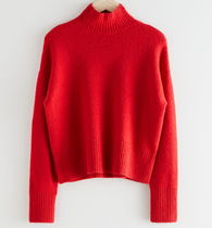 """""""& Other Stories"""" Cropped Mock Neck Sweater Red"""
