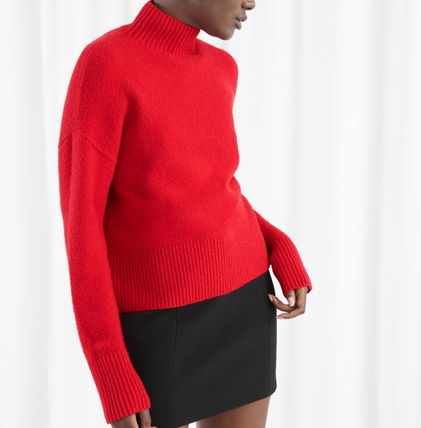 """& Other Stories ニット・セーター """"& Other Stories"""" Cropped Mock Neck Sweater Red(2)"""