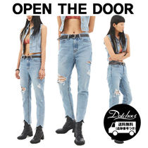 OPEN THE DOOR damage straight-fit jeans CA24 追跡付