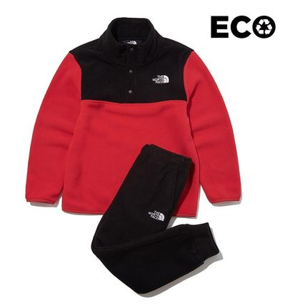 THE NORTH FACE キッズ用トップス ☆人気☆THE NORTH FACE☆K'S ECO FLEECE SNAP R TEE SET☆(2)