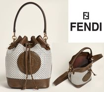 FENDI☆Brown Mon Tresor Perforated Small Leather Bucket Bag