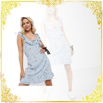 New Look(ニュールック) パーティードレス 関税込み◆New Look ruffle strap mini summer dress in blue