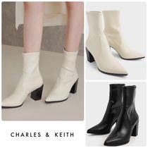★CHARLES & KEITH★Stacked Heel Ankle Boots ブーツ/送料込