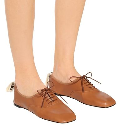 LOEWE フラットシューズ LOEWE☆ DERBY LEATHER SHOESソフト ダービー CAMEL(6)
