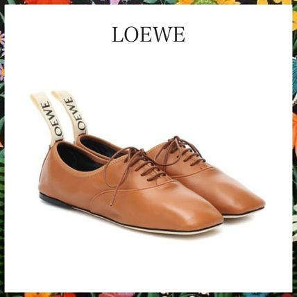 LOEWE フラットシューズ LOEWE☆ DERBY LEATHER SHOESソフト ダービー CAMEL
