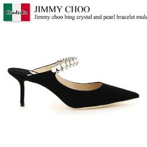 Jimmy choo bing crystal and pearl bracelet mules