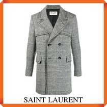 SAINT LAURENT Double-Breasted Grained Coat
