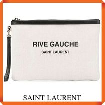SAINT LAURENT RIVE GAUCHE ZIPPERED POUCH IN LINEN CANVAS