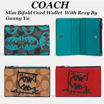 NEW!【COACH】Slim Bifold Card Wallet With Rexy By Guang Yu
