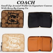 NEW!【COACH】Small Zip Around Wallet In Signature Canvas