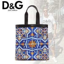 D&G シチリアdna ショッピングバッグ ナイロン マヨリカプリント