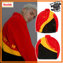 【KODAK】Colorblock Fleece Zip-UP RED