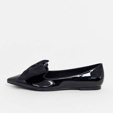 Wide Fit Lake bow pointed ballet flats