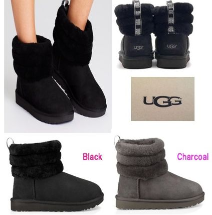 SALE!!【UGG】Classic Mini Fluff Quilted Boot  黒/グレー